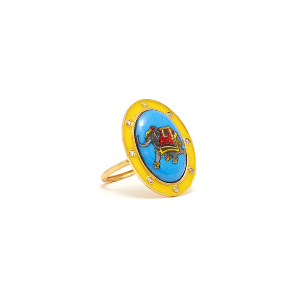 Jaipur Atelier Enamel and Diamond Elephant Ring