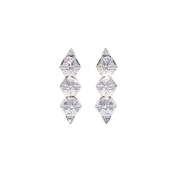 Diamond Chain Hex Earrings-Earrings-Jaipur Atelier