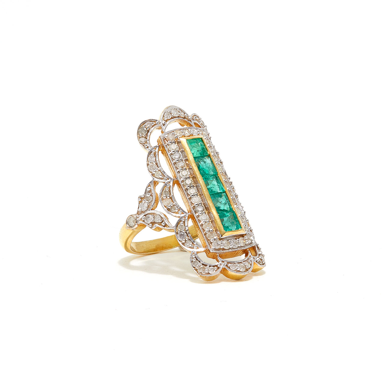 Emerald Diamond Shield Ring-Ring-Jaipur Atelier