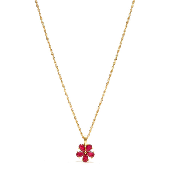 Petit Jai Ruby Flower Necklace-Pendant-Jaipur Atelier