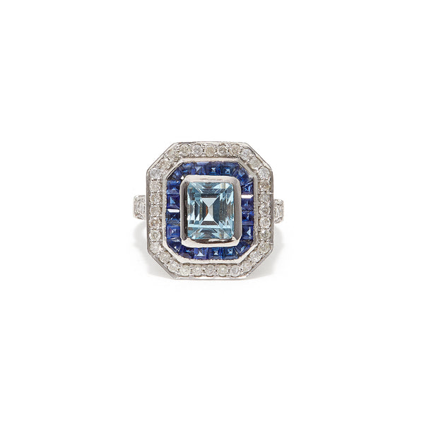 Art Deco Aquamarine Sapphire Dress Ring-Ring-Jaipur Atelier