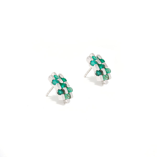 Emerald Baguette Herringbone Studs-Earrings-Jaipur Atelier