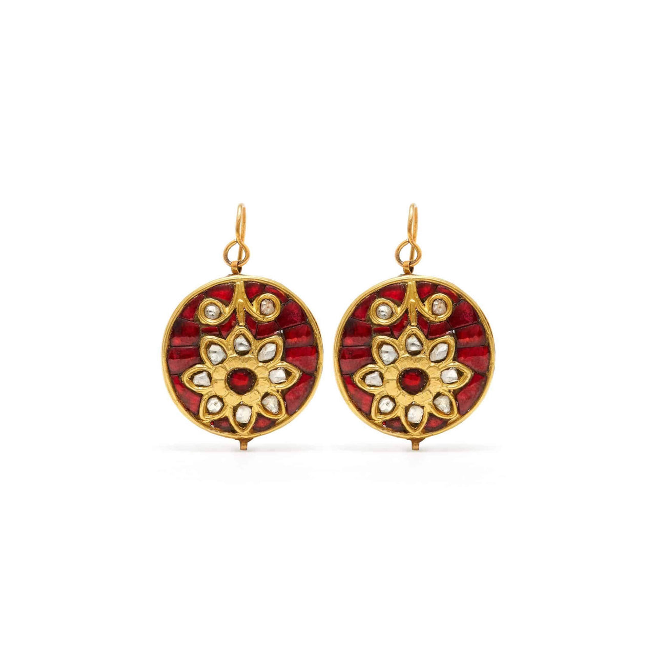 Ruby Diamond Flower Coin Earrings-Earrings-Jaipur Atelier