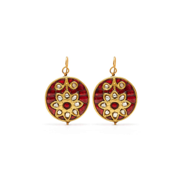 Ruby Diamond Flower Coin Earrings