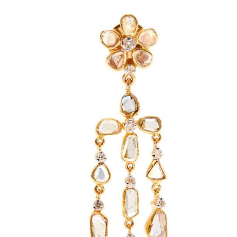 'The Beautiful Ones' Diamond Chandelier Gold Earrings-Earrings-Jaipur Atelier
