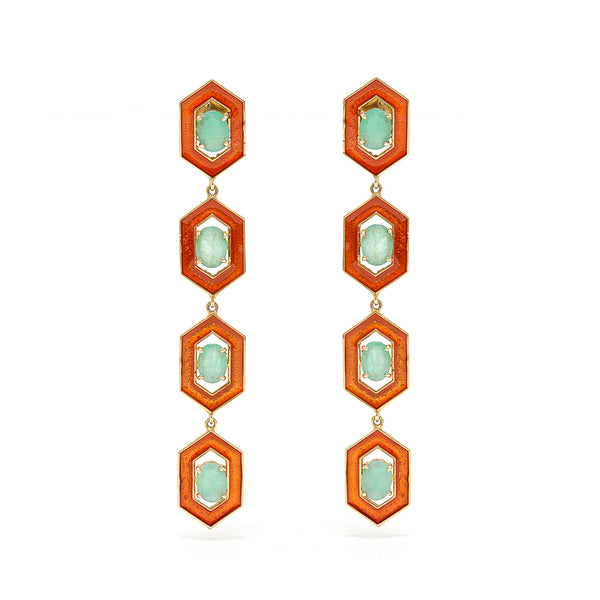 Emerald Orange Enamel Drop Earrings-Earrings-Jaipur Atelier