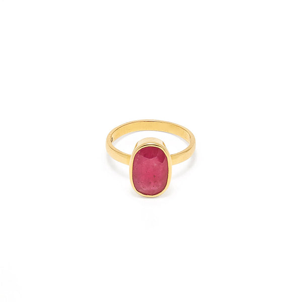 Ruby Navratan Astrology Gold Ring