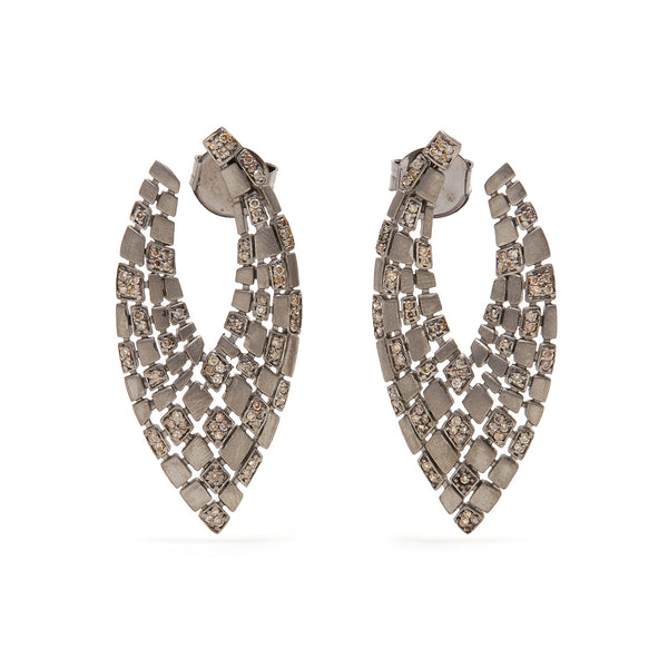 Jaipur Atelier Matte Grey Diamond 'V' Earrings