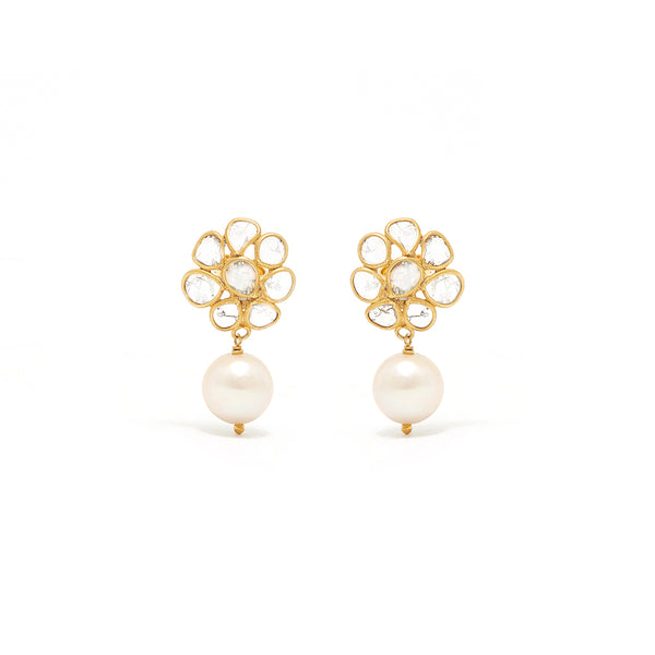 Diaphanous Diamond Pearl Drop Earrings-Earrings-Jaipur Atelier