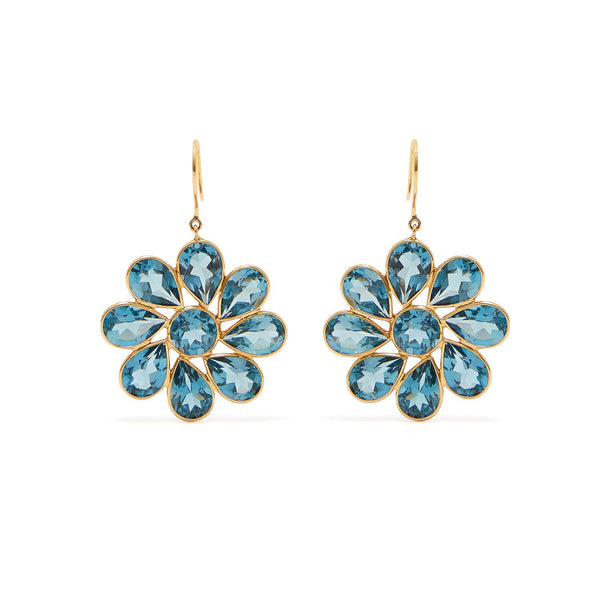 London Blue Topaz Flower Drop Earrings
