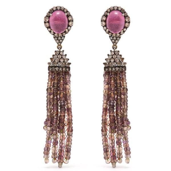 Jaipur Atelier Pink Grey Sapphire Diamond Tassel Earrings