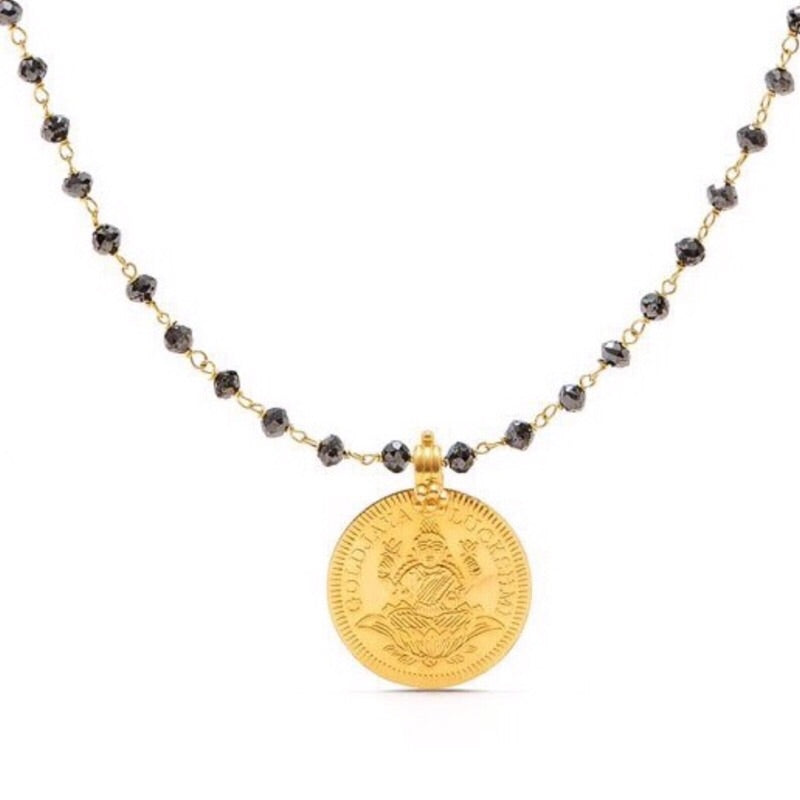 The Elizabeth Gold & Black Diamond Laxmi Pendant-Pendant-Jaipur Atelier