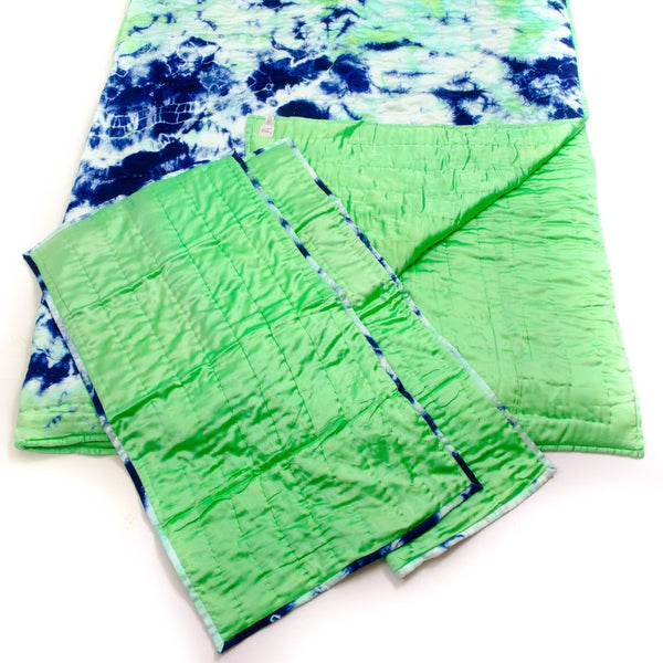 Mint Green & Navy Silk Tie Dye Quilt