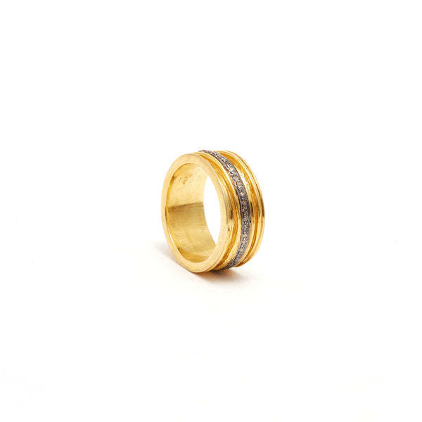 Jaipur Atelier Black Stripe Diamond Gold Band