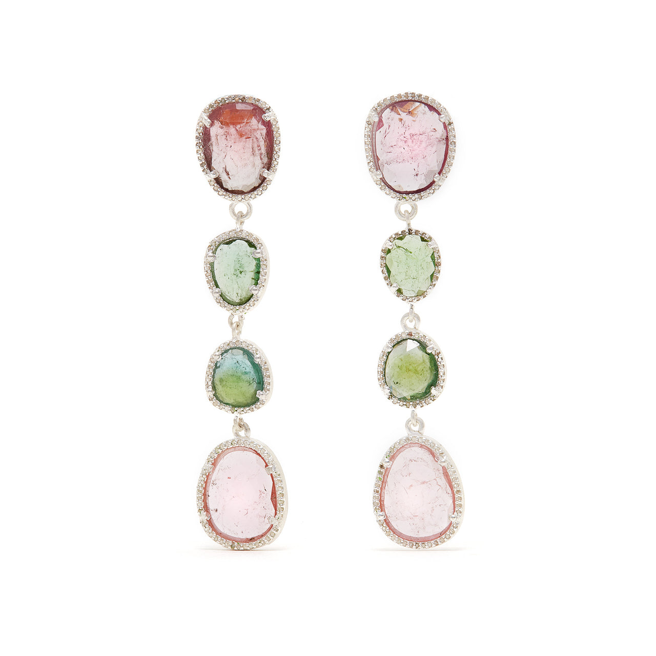 Jaipur Atelier Rose Mint Tourmaline Diamond Drop Earrings