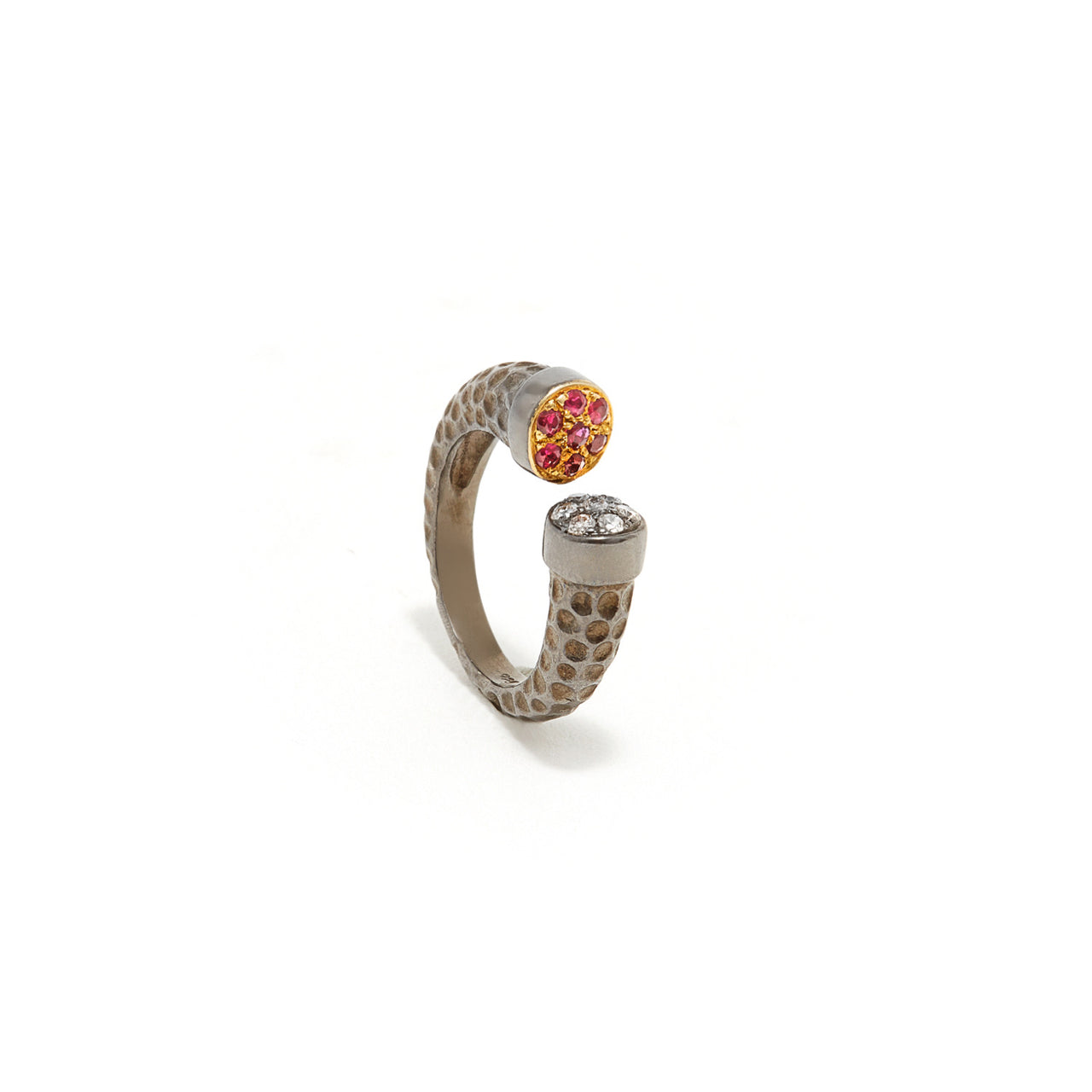 Polka Dot Diamond Ruby Open Band-Ring-Jaipur Atelier