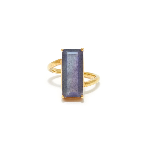 Labradorite Emerald Cut Abstract Set Cocktail Ring
