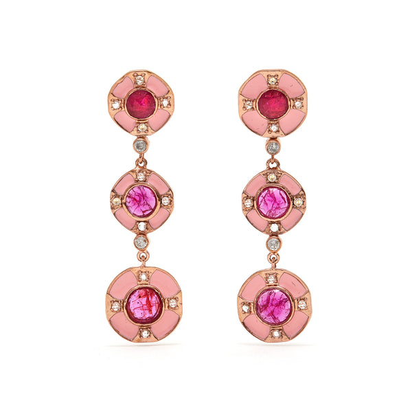 Jaipur Atelier Pink Ruby Diamond Enamel Cirque Drop Earrings