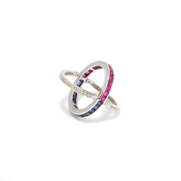 Sapphire Ruby Reversible Baguette Ring