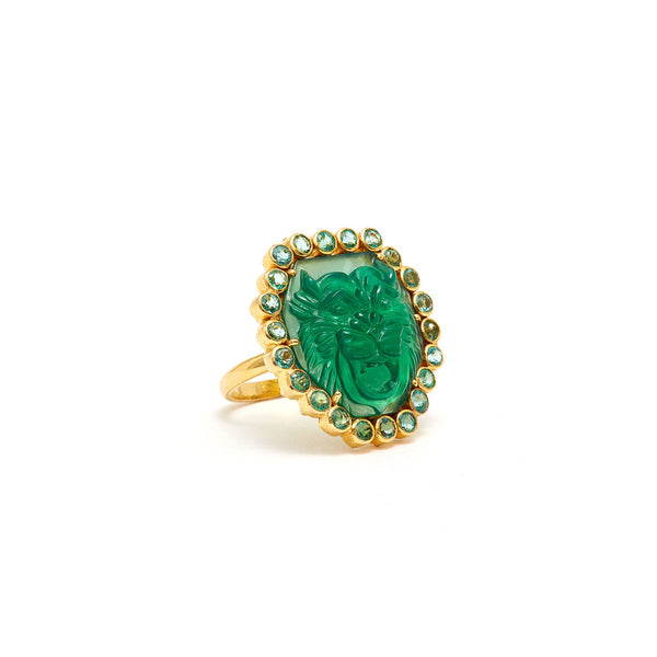 Jaipur Atelier The Green Onyx &  Emerald Tiger Cocktail Ring