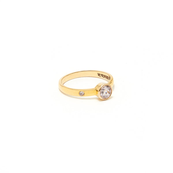 Pink Morganite Rose Cut Diamond Gold  Ring
