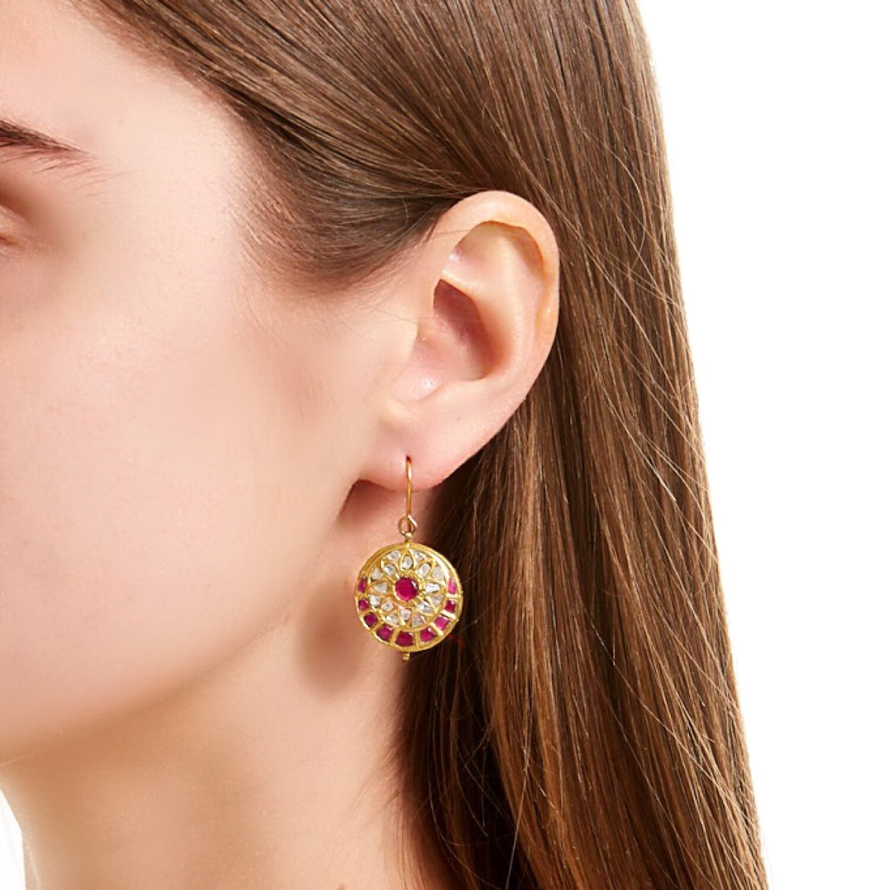 Pink Ruby Flower Coin Earrings-Earrings-Jaipur Atelier