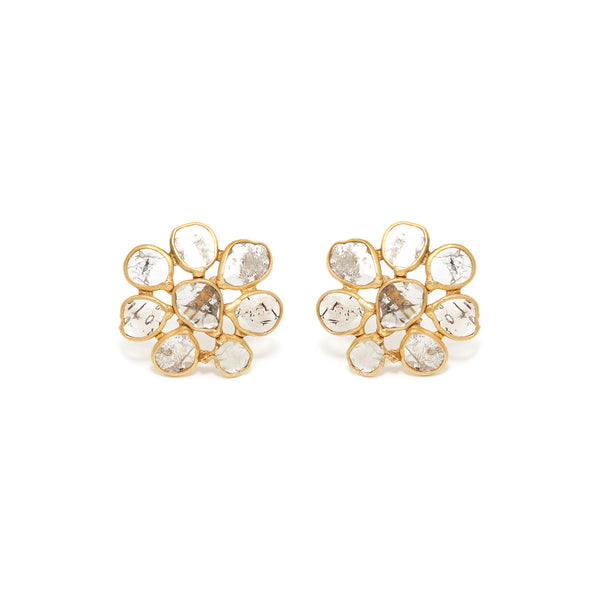 Golden Diamond Diaphanous Cluster Stud Earrings-Earrings-Jaipur Atelier
