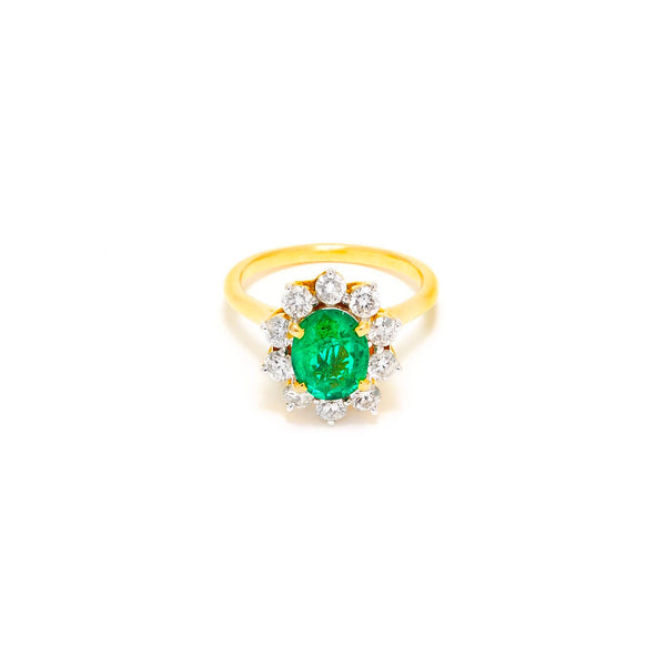 Emerald Diamond Cluster Certified Dress Ring-Ring-Jaipur Atelier