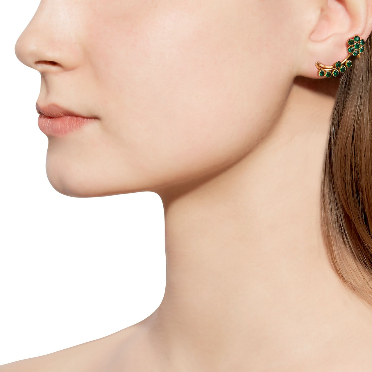 Green Topaz Ear Cuffs-Earrings-Jaipur Atelier