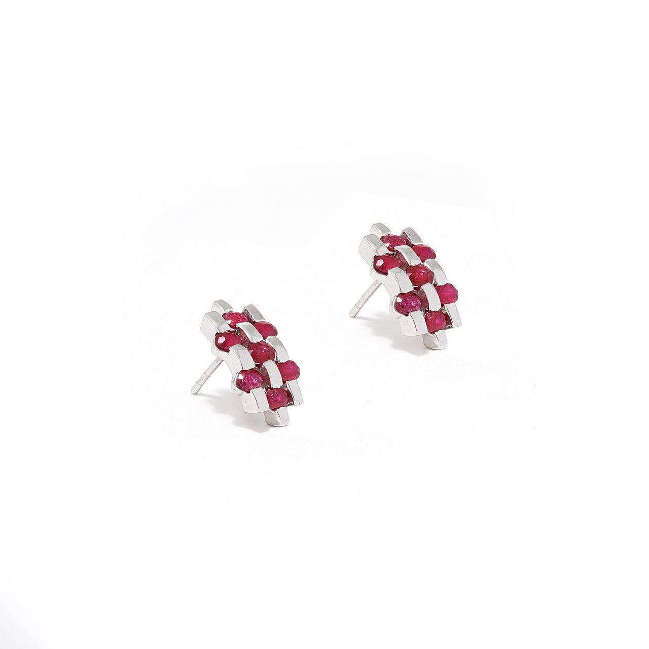 Ruby Baguette Herringbone Studs-Earrings-Jaipur Atelier