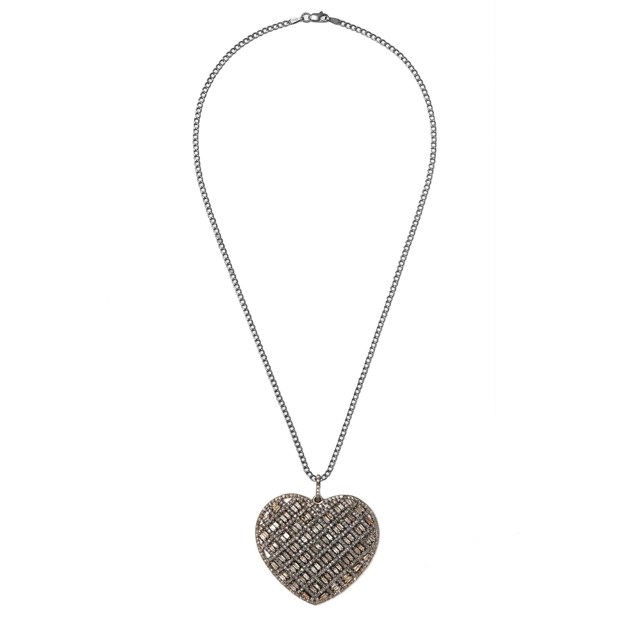 Diamond Baguette Heart Pendant