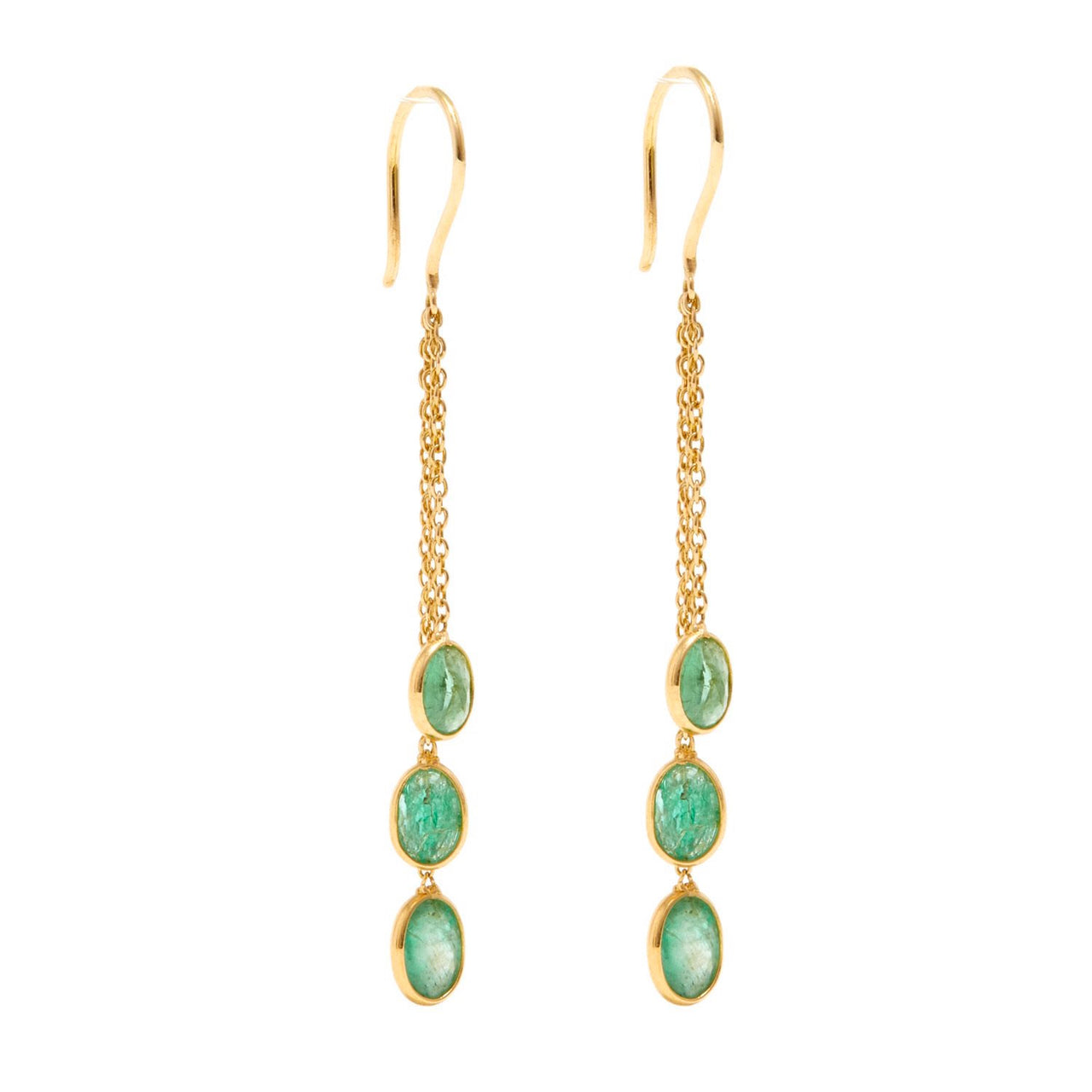 Emerald Cascade Chain Earrings-Earrings-Jaipur Atelier