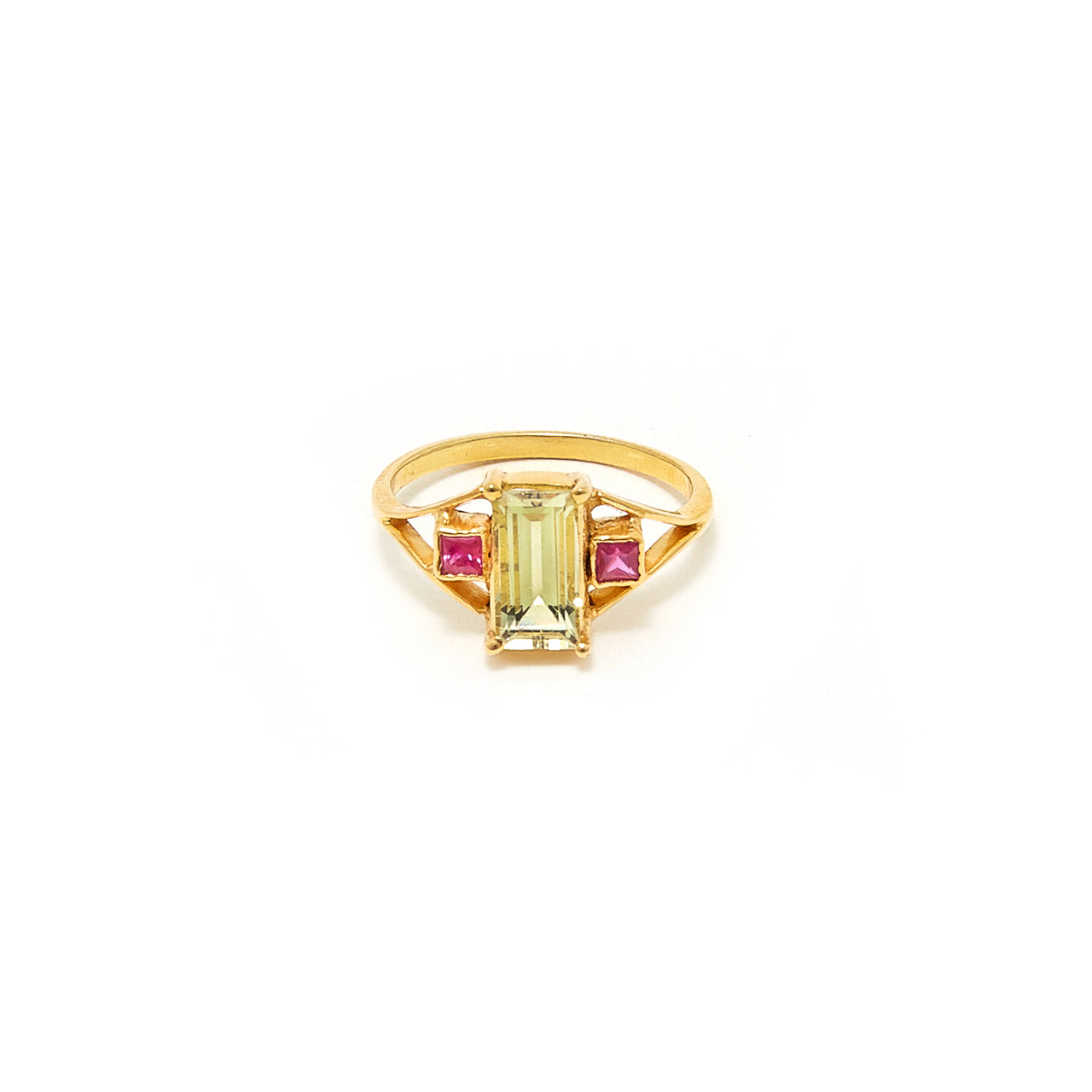 Petit Jai Yellow Aquamarine Ruby Ring
