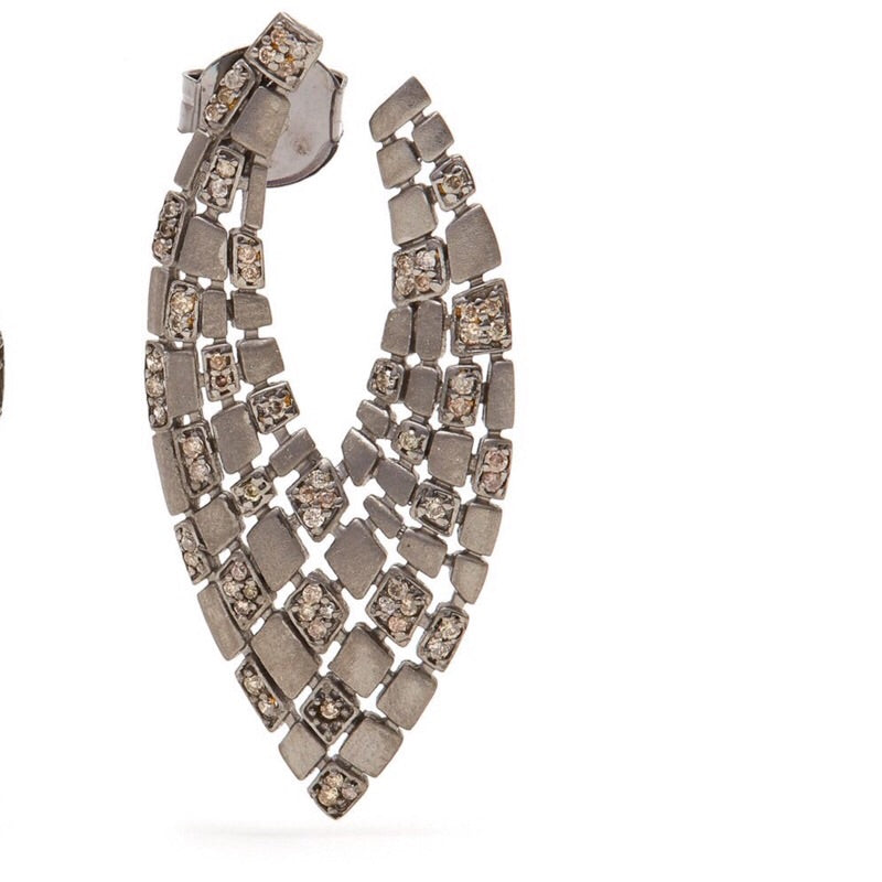 Matte Grey Diamond 'V' Earrings-Earrings-Jaipur Atelier