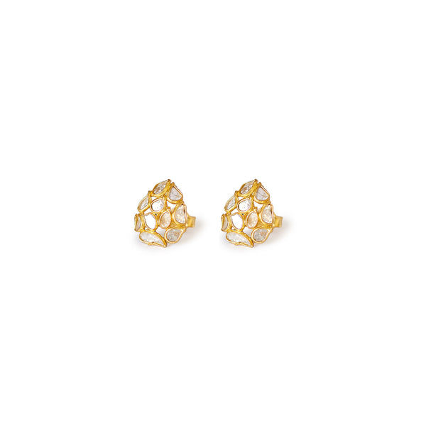 Diaphanous Diamond Teardrop Studs-Earrings-Jaipur Atelier