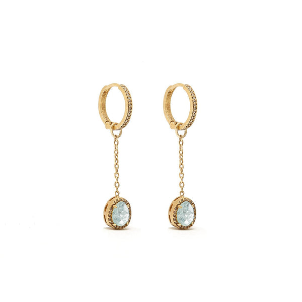 Aquamarine Diamond T Drop Earrings-Earrings-Jaipur Atelier