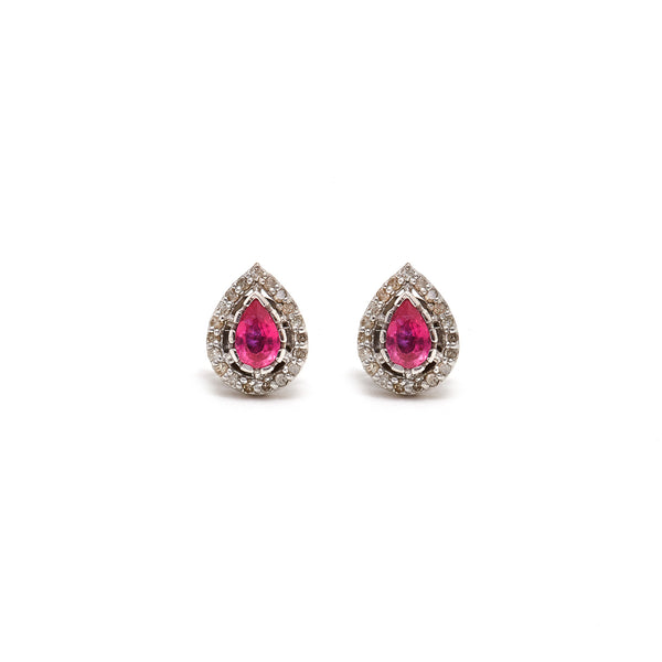 Jaipur Atelier Ruby Diamond Tear Drop Stud Earrings