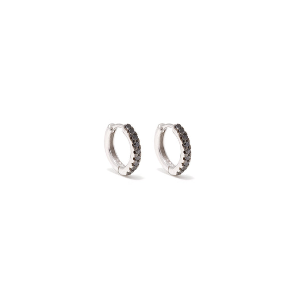 Black Diamond Baguette Hoops