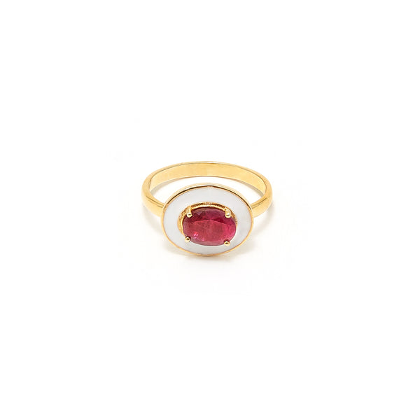Petit Jai White Enamel Oval Ruby Ring