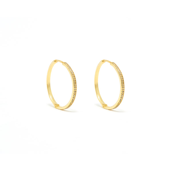 Glitter Hoop 18 Diamond Earrings-Earrings-Jaipur Atelier