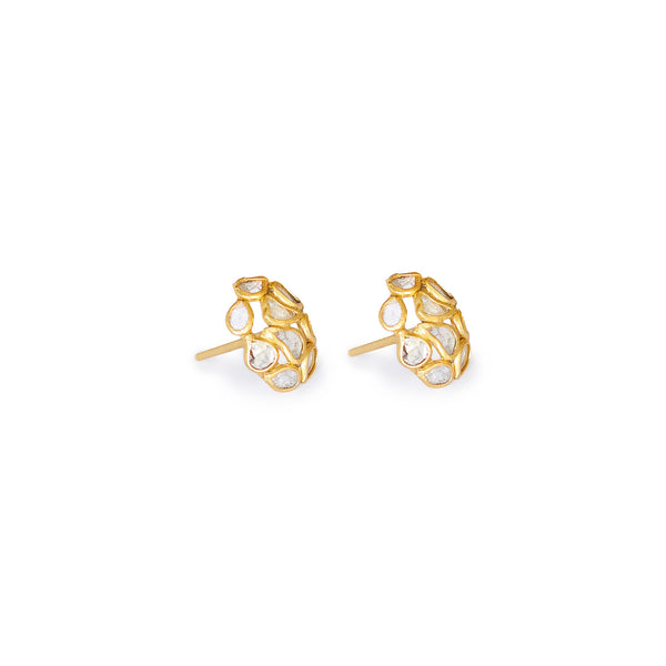 Diamond Diaphanous Oval Stud Earrings