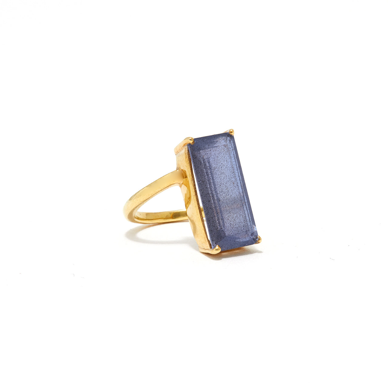 Labradorite Emerald Cut Abstract Set Cocktail Ring-Ring-Jaipur Atelier