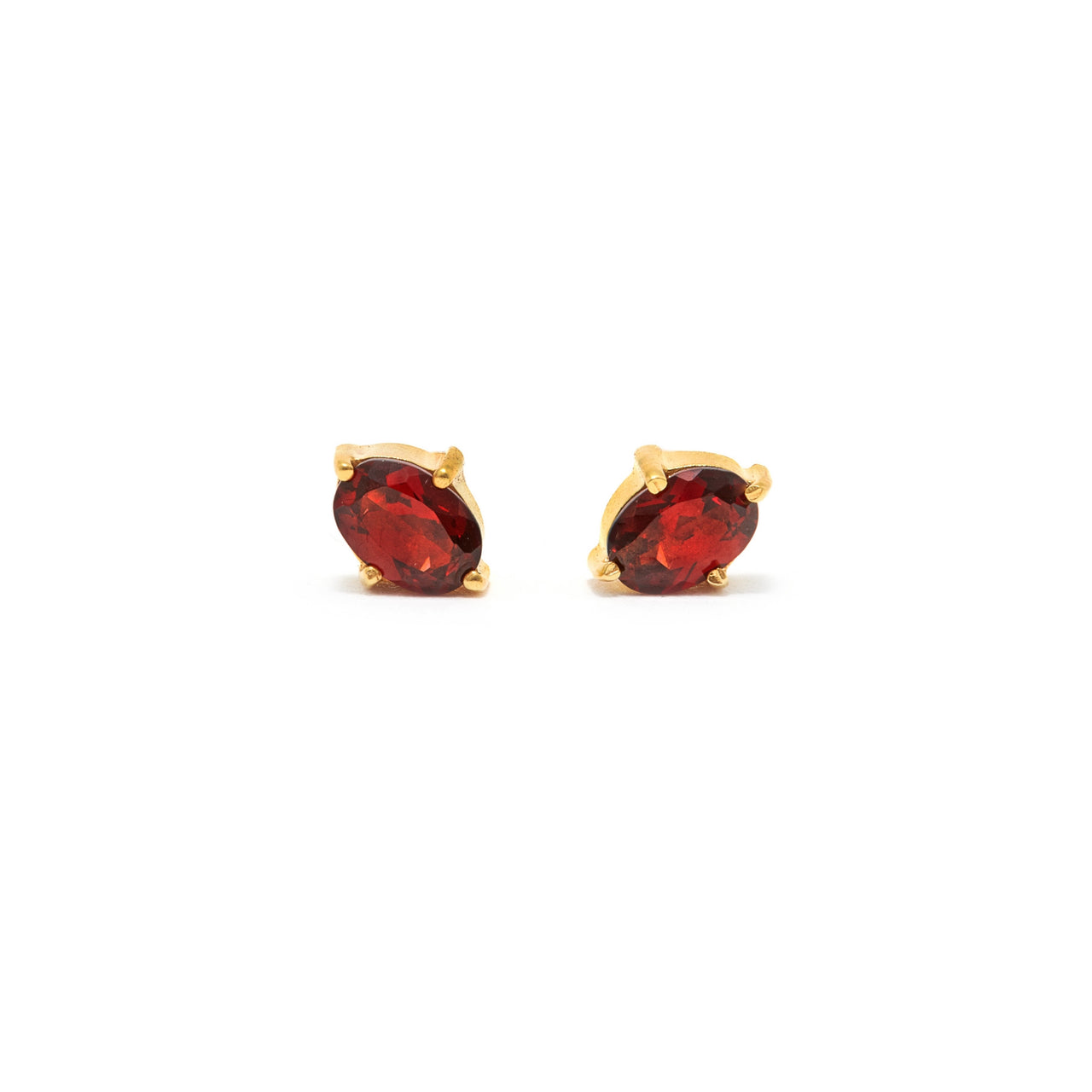Garnet Oval Cut Stud Earrings-Earrings-Jaipur Atelier