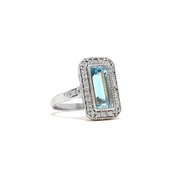 Aquamarine Art Deco Emerald Cut Diamond Ring-Ring-Jaipur Atelier