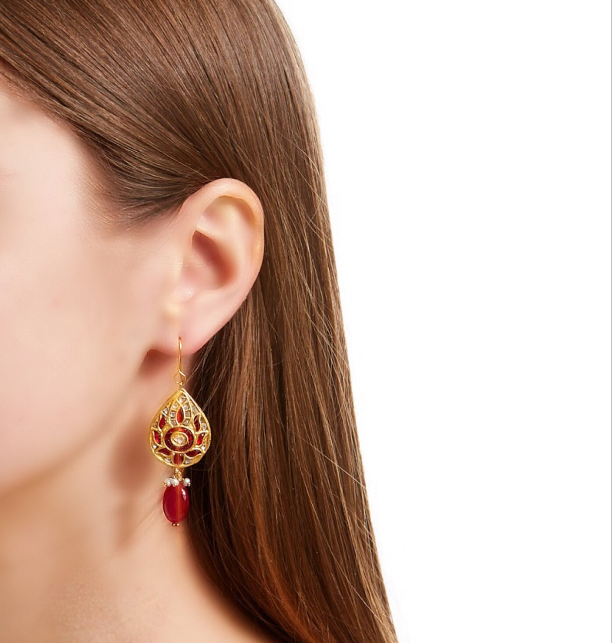 Ruby Diamond Coin Tear Drop Earrings-Earrings-Jaipur Atelier