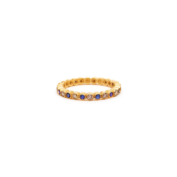 Jaipur Atelier Sapphire and Champagne Diamond Eternity Bands