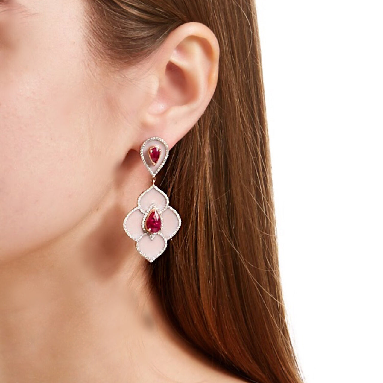 Pink Ruby Enamel Diamond Chandelier Earrings-Earrings-Jaipur Atelier