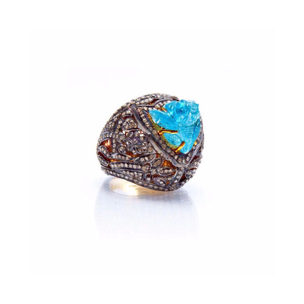 Aquamarine & Diamond Dome Cocktail Ring-Ring-Jaipur Atelier
