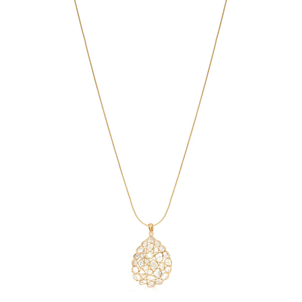Golden Diamond Diaphanous Teardrop Pendant-Pendant-Jaipur Atelier