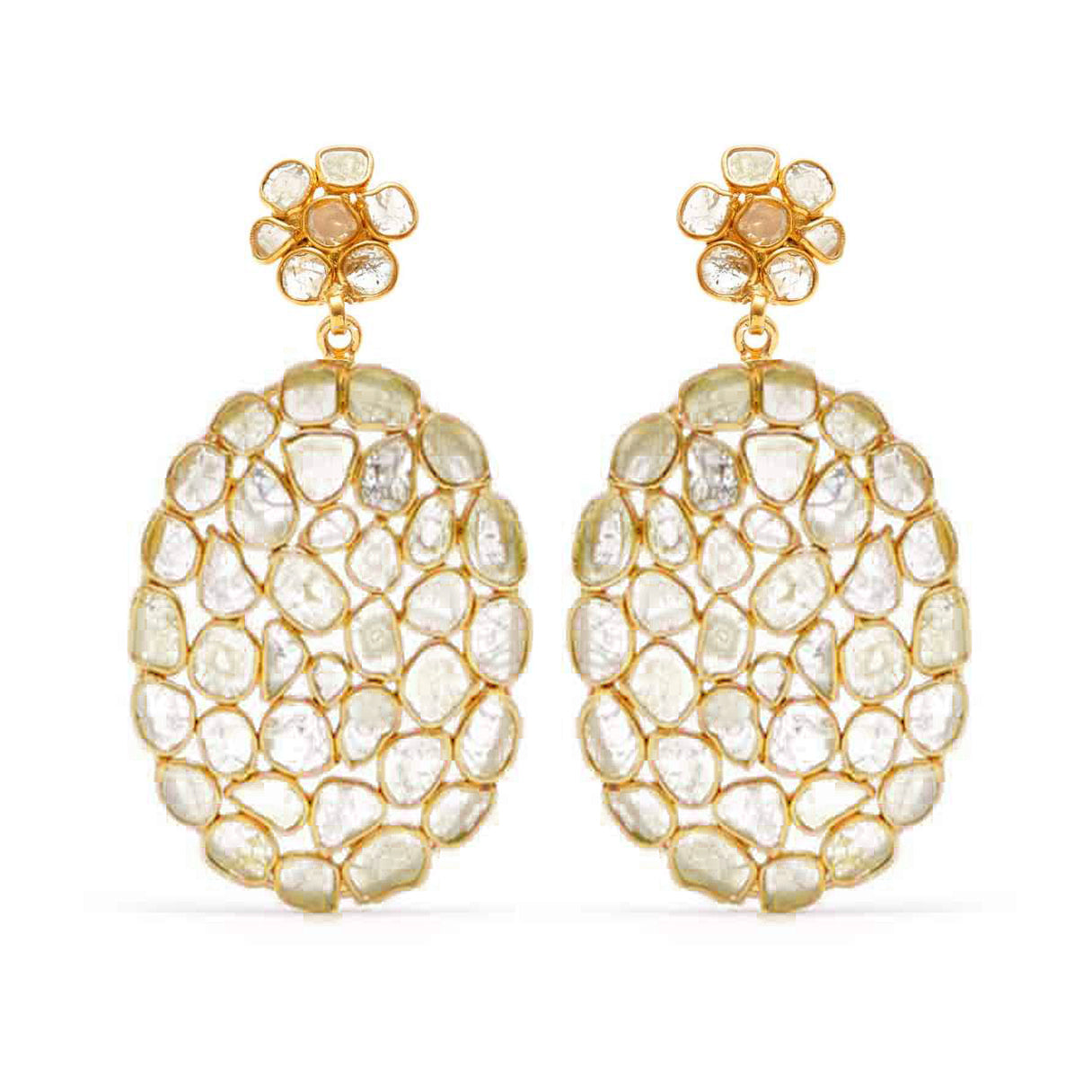 Golden Diamond Diaphanous Oval Drop Earrings